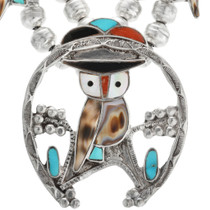 Sterling Silver Inlaid Owl Turquoise Necklace 32420