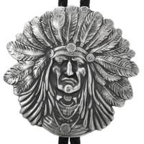 Navajo Sterling Silver Indian Chief Bolo Tie 32427