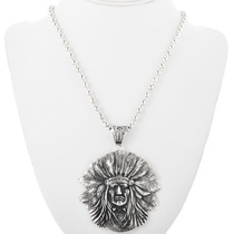 Sterling Silver Indian Chief Pendant 32428