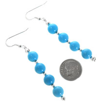 Blue Turquoise Silver Dangle Earrings 32448