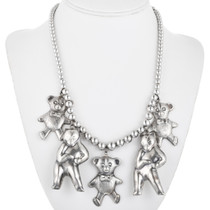 Vintage Silver Teddy Bear Necklace 32461
