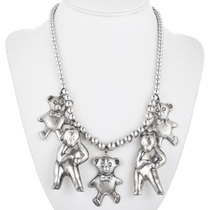 Vintage Silver Teddy Bear Necklace 32461