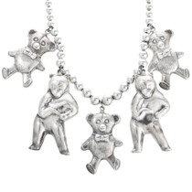 Sterling Silver Teddy Bears Beaded Necklace 32461