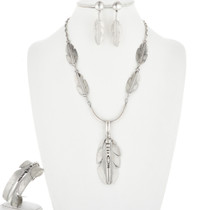 Vintage Silver Feather Necklace Set 32464