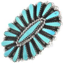 Vintage Zuni Needlepoint Turquoise Ring 32466