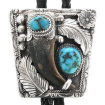 Vintage Turquoise Bear Claw Bolo Tie 32469