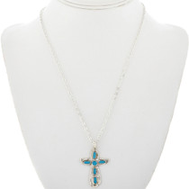 Turquoise Silver Cross Pendant 32476