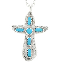 Genuine Turquoise Cross Pendant 32476