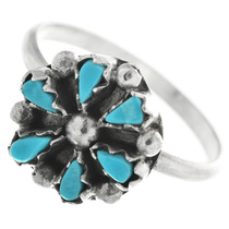 Zuni Turquoise Silver Flower Ring 32481