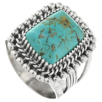 Turquoise Silver Mens Ring 32485