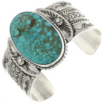 Genuine Turquoise Hammered Silver Bracelet 32496