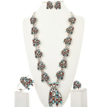 Rainbow Man Squash Blossom Necklace Set