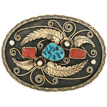 Vintage Turquoise Gold Coral Belt Buckle 32502
