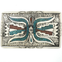 Vintage Inlaid Turquoise Coral Belt Buckle 32506