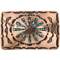 Inlaid Copper Turquoise Belt Buckle 32514