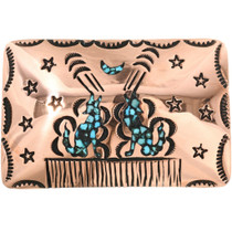 Howling Wolf Copper Turquoise Belt Buckle 32521