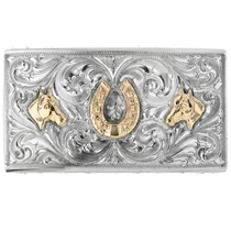 Vintage 14K Gold Silver Belt Buckle 32526