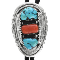 Vintage Turquoise Coral Silver Bolo Tie 32527