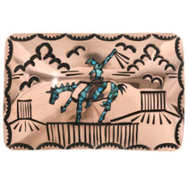 End of Trail Copper Turquoise Belt Buckle 32528