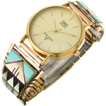 Vintage Turquoise Inlaid Gold Watch 32533
