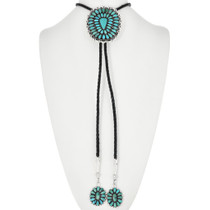 Navajo Turquoise Cluster Bolo Tie 32535