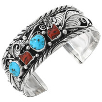 Vintage Turquoise Coral Silver Cuff 32540