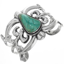 Green Turquoise Silver Navajo Cuff 32542