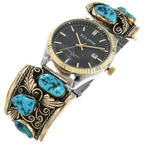 Old Pawn Turquoise Gold Mens Watch 32543