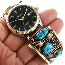 Old Kingman Turquoise Gold Watch 32543