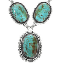 Kingman Turquoise Sterling Silver Navajo Necklace 32544