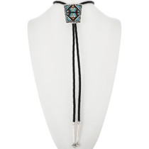 Old Pawn Native American Inlaid Bolo Tie 32549