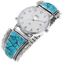 Vintage Zuni Turquoise Mens Watch 32553