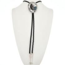 Vintage Navajo Turquoise Silver Bolo Tie 32554