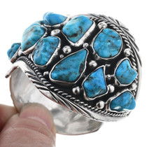 Navajo Old Pawn Silver Turquoise Bracelet 32558