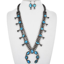 Old Pawn Turquoise Squash Blossom Necklace Set 32559