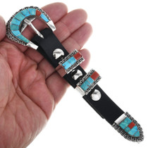 Inlaid Turquoise Coral Ranger Belt Buckle 32562