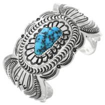 Vintage Turquoise Hammered Silver Cuff Bracelet 32564