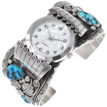 Old Pawn Turquoise Silver Watch Cuff 32565