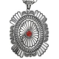Vintage Coral Silver Concho Pendant 32566
