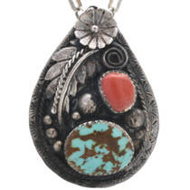 Vintage Turquoise Coral Navajo Pendant 32561