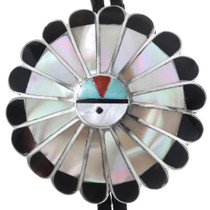 Old Pawn Zuni Sunface Bolo Tie 32583