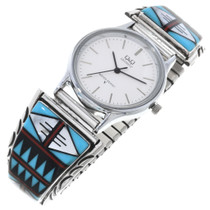 Vintage Inlaid Silver Turquoise Mens Watch 32595