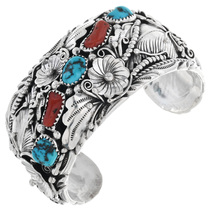 Vintage Turquoise Coral Silver Bracelet 32598