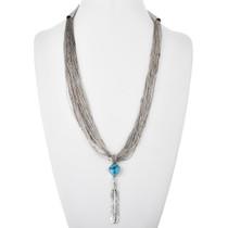Vintage Silver Feather Liquid Silver Necklace 32603