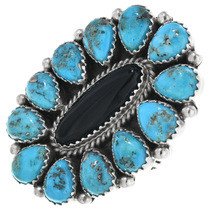 Turquoise Onyx Navajo Ring 32607