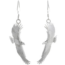 Navajo Handmade Silver Eagle Earrings 32610