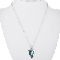 Turquoise Chip Inlay Arrowhead Pendant 32619