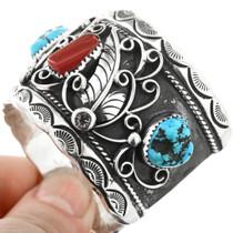 Navajo Turquoise Coral Bracelet 32631