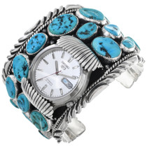 Old Pawn Natural Turquoise Watch Cuff 32633