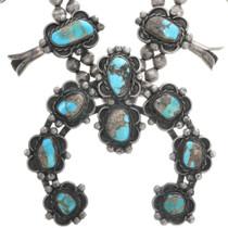 Royston Turquoise Navajo Squash Blossom Necklace 32640